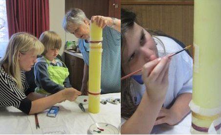 Image of painting the Paschal Candle