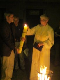 Image of the lighting of the Paschal Candle