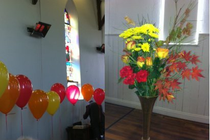 Image of Balloons and Flowers at the Pentecost Service