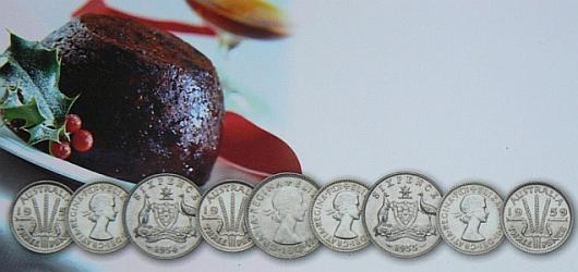Image of Christmas pudding and coins